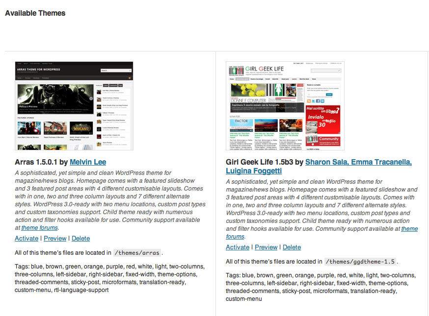 WordPress: il Child Theme e il Theme originale Arras